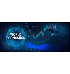 Stock market forex with 3d earth globe vector