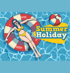 summer girl with float in the pool vector image