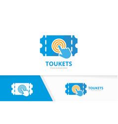 Ticket and click logo combination ducket vector