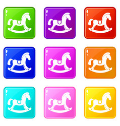 Toy horse icons 9 set vector