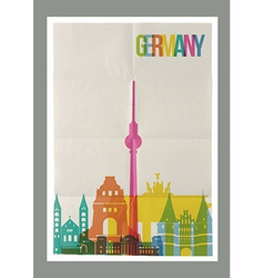 Travel germany landmarks skyline vintage poster vector
