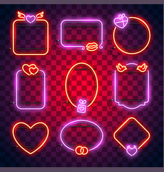 valentines neon frames set vector image