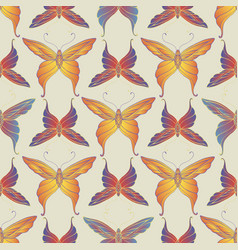 vintage decorative butterfly seamless pattern vector image