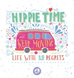 Vintage hippie time print with a mini van vector