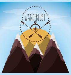 Wanderlust aventure with landscape and explorer vector