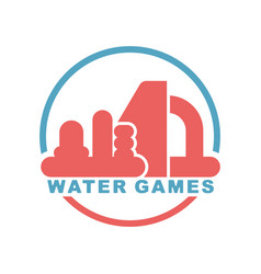 Water games logo emblem for inflatable park vector