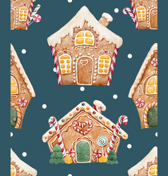 watercolor christmas pattern vector image