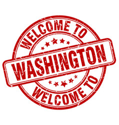 welcome to washington red round vintage stamp vector image
