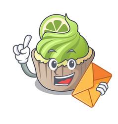 With envelope lemon cupcake character cartoon vector