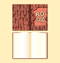 Wooden book cover and open format book vector image