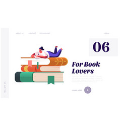 Young woman student or bookworm spend time in vector