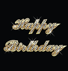 Happy birthday in gold with diamonds vector image vector image