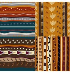 Set of African ethnic seamless patterns vector image