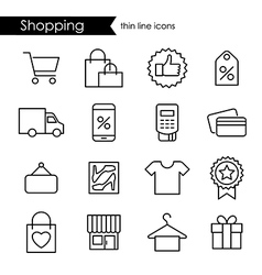Shopping thin line icon set vector image