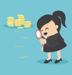 business woman looking on dollar through magnifyin vector image vector image