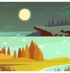 Camping Cartoon Banners Set vector image