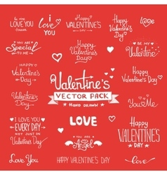 Happy Valentines Day Hand Lettering set vector image vector image