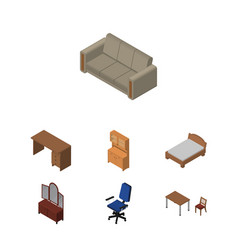 Isometric furnishing set of chair cupboard table vector