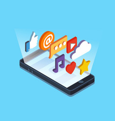 isometric touch smart-phonewith apps vector image