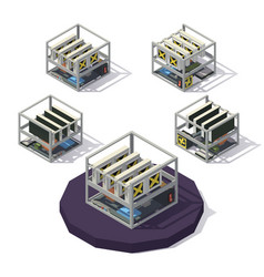 low poly mining farm vector image