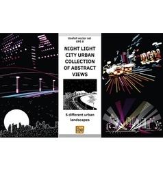 Night light landscapes city views set vector image