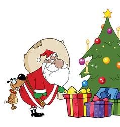Santa delivering presents cartoon vector image vector image