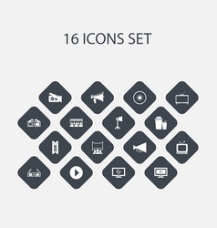 set of 16 editable cinema icons includes symbols vector image vector image