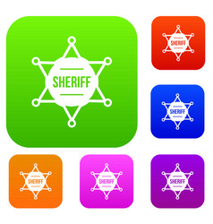 sheriff badge set collection vector image
