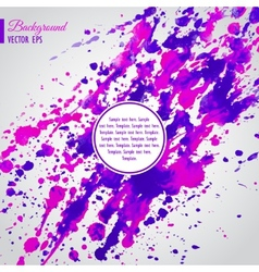 Violet and pink watercolor blots business template vector image
