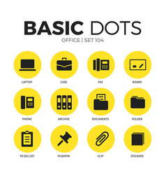 office flat icons set vector image
