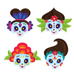 set with colorful skulls for day of the vector image