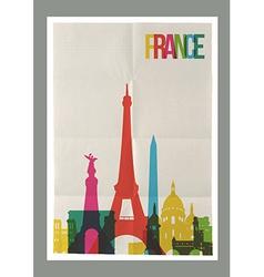 Travel France landmarks skyline vintage poster vector image