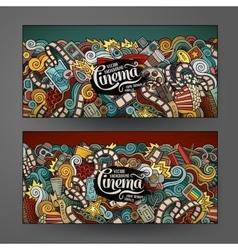 Cartoon doodles cinema banners vector