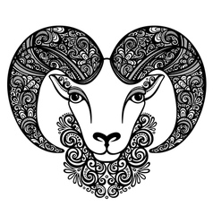 Decorative Sheep with Patterned Horns vector image