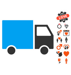 delivery van icon with dating bonus vector image vector image