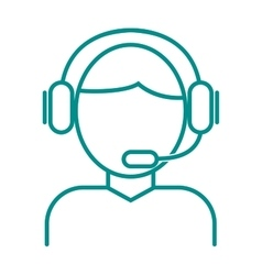 Face thin outline headphone vector image