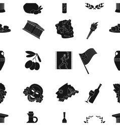 Greece pattern icons in black style Big vector image vector image