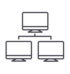 network monitor line icon sign vector image