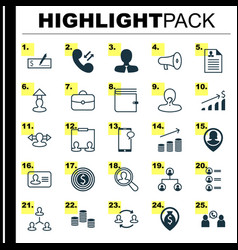 resources icons set collection of bullhorn find vector image