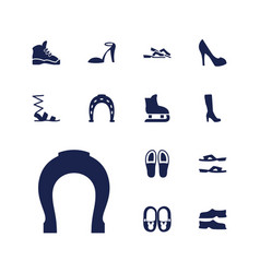13 shoe icons vector
