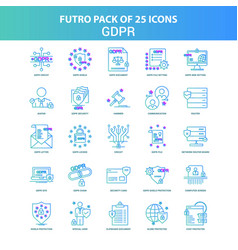 25 green and blue futuro gdpr icon pack vector