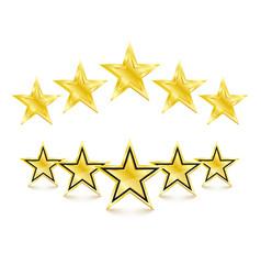 5 golden stars on white background vector image