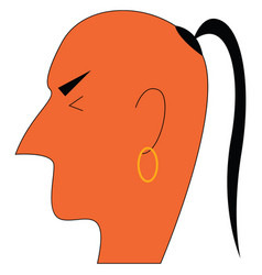 a hindu monk with its tuft hair on an vector image