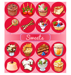 a set of delicious desserts and festive food vector image