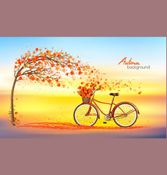 autumn background with a tree and a bike vector image