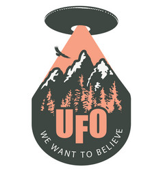 Banner with a flying ufo over mountains vector