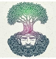 Bearded man protect environment vector