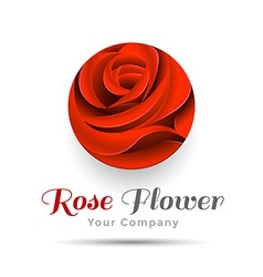 Beautiful Contour Red Logo with Rose Flower for vector image