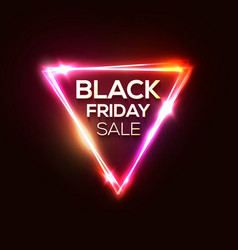 black friday sale on neon triangle background vector image