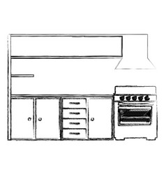 Blurred silhouette of modern kitchen cabinets with vector